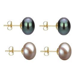 Set Cercei Aur cu Perle Naturale Negre si Lavanda de 10 mm - Cadouri si Perle