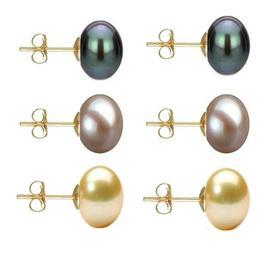 Set Cercei Aur cu Perle Naturale Negre, Lavanda si Crem de 10 mm - Cadouri si Perle