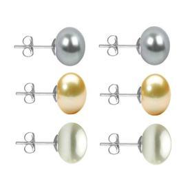 Set Cercei Aur Alb cu Perle Naturale Gri, Crem si Albe de 10 mm