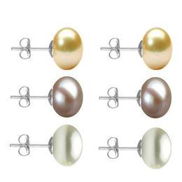 Set Cercei Aur Alb cu Perle Naturale Crem, Lavanda si Albe de 10 mm - Cadouri si Perle