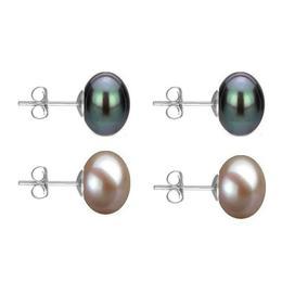 Set Cercei Aur Alb cu Perle Naturale Negre si Lavanda de 10 mm - Cadouri si Perle