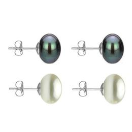 Set Cercei Aur Alb cu Perle Naturale Negre si Albe de 10 mm - Cadouri si Perle