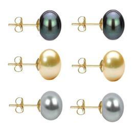Set Cercei Aur cu Perle Naturale Negre, Crem si Gri de 10 mm - Cadouri si Perle