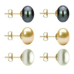 Set Cercei Aur cu Perle Naturale Negre, Crem si Albe de 10 mm - Cadouri si Perle