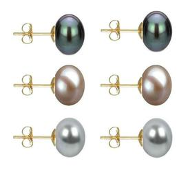 Set Cercei Aur cu Perle Naturale Negre, Lavanda si Gri de 10 mm - Cadouri si Perle