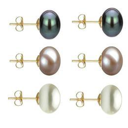 Set Cercei Aur cu Perle Naturale Negre, Lavanda si Albe de 10 mm - Cadouri si Perle