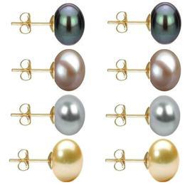 Set Cercei Aur cu Perle Naturale Negre, Lavanda, Gri si Crem de 10 mm