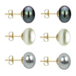 Set Cercei Aur cu Perle Naturale Negre, Albe si Gri de 10 mm - Cadouri si Perle