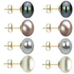 Set Cercei Aur cu Perle Naturale Negre, Lavanda, Gri si Albe de 10 mm