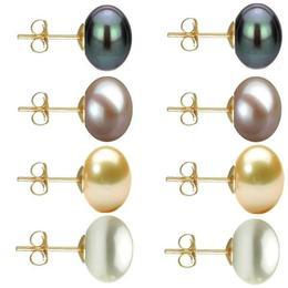 Set Cercei Aur cu Perle Naturale Negre, Lavanda, Crem si Albe de 10 mm