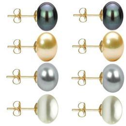 Set Cercei Aur cu Perle Naturale Negre, Crem, Gri si Albe de 10 mm