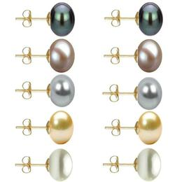 Set 5 Perechi Cercei Aur cu Perle Naturale de 10 mm