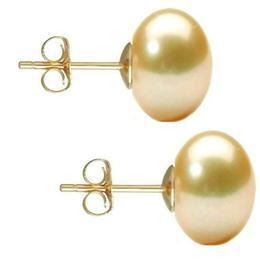 Cercei de Aur cu Perle Naturale Crem de 10 mm - Cadouri si Perle