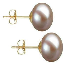 Cercei de Aur cu Perle Naturale Lavanda de 10 mm - Cadouri si Perle