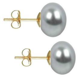 Cercei de Aur cu Perle Naturale Gri de 10 mm - Cadouri si Perle