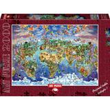 Puzzle 2000 piese - World Wonders Illustrated Map-MARIA RABINKY