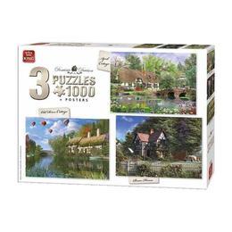 Puzzle 3 x 1000 piese, Cottage
