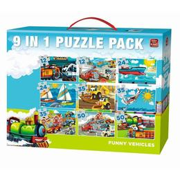Puzzle 9 in 1, Funny Vehicules, Modelul 1