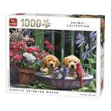Puzzle 1000 piese, puppies Drinking, Water