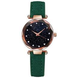 Ceas de dama Geneva, stil Fashion, curea piele, model verde, CS1010