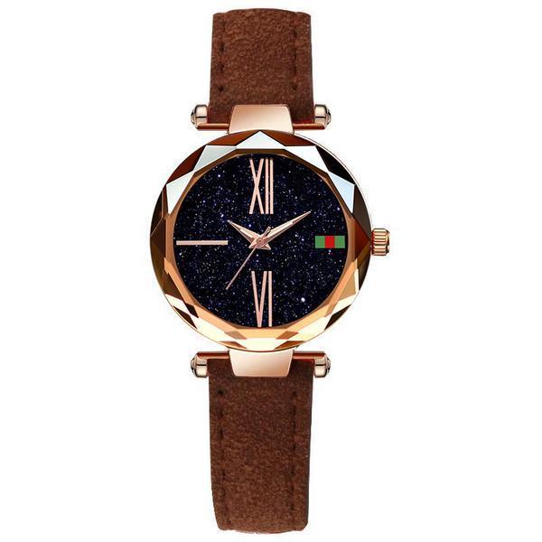 Ceas de dama Geneva, stil Fashion, curea piele, model maro, CS1007