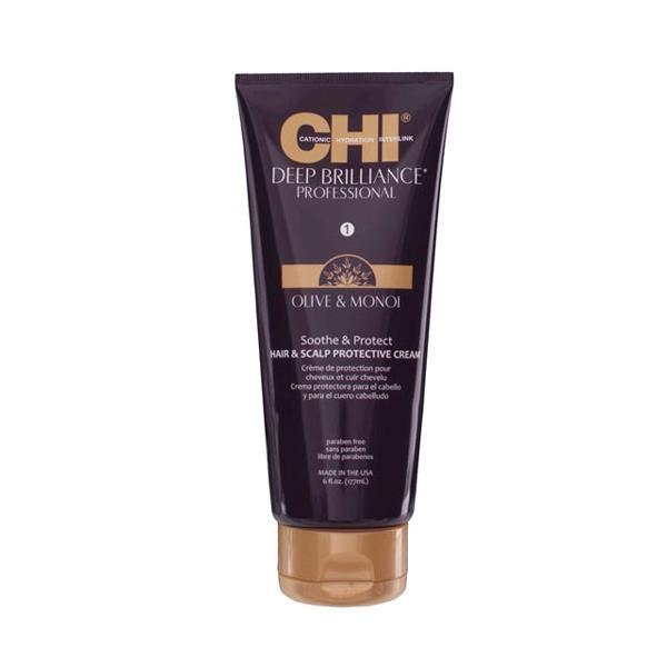 Crema de Protectie pentru Par si Scalp - CHI Farouk Deep Brilliance Olive & Monoi Soothe & Protect Hair & Scalp Protective Cream, 177ml imagine produs