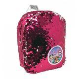 Ghiozdan LOL Surprise pentru gradinita cu paiete reversibile albe si roz 26 cm