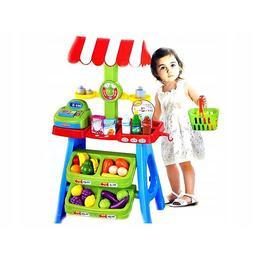 Magazin pentru copii, Super Market, Malplay , 30 de Accesorii incluse, Casa de Marcat, Cantar, Cos de cumparaturi, Numeroase Alimente