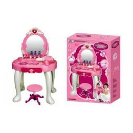 Masuta de toaleta pentru fetite, MalPlay, cu oglinda si taburet, lumini, sunete si accesorii de frumusetare