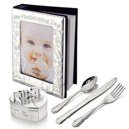 Set Cadou de botez album cutiute mot dintisor tacamuri argintate - Juliana