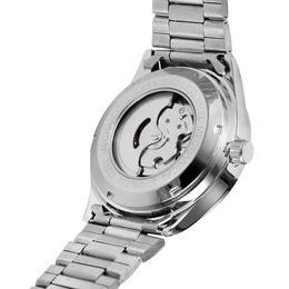 Ceas barbatesc clasic marca Forsining mecanism automatic cu calendar bratara din otel inoxidabil argintie rezistent la zgarieturi stil fashion + cutie cadou