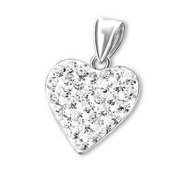 Pandantiv din argint in forma de inima cu pietre din zirconiu, White crystal, Adorabel