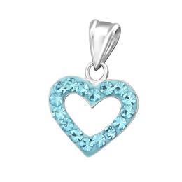 Pandantiv din argint in forma de inima cu cristale, Akvamarin, Adorabel