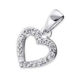 Pandantiv din argint in forma de inima cu pietre din zirconiu, White Zirkoniu, Adorabel