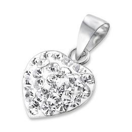 Pandantiv din argint in forma de inima cu cristale, White crystal, Adorabel