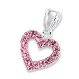 Pandantiv din argint in forma de inima cu cristale, Light Rose, Adorabel