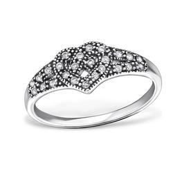 Inel inima celtica din argint cu pietre din zirconiu, Adorabel, 57 EU, 8 US