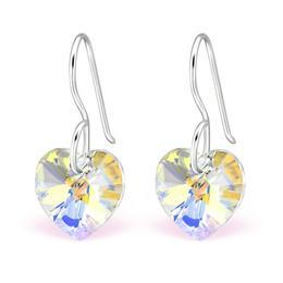 Cercei din argint cu Cristale Swarovski® in forma de inima, White Aurora Borealis, Adorabel