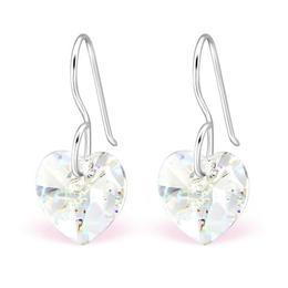Cercei din argint cu Cristale Swarovski® in forma de inima, White Patina, Adorabel