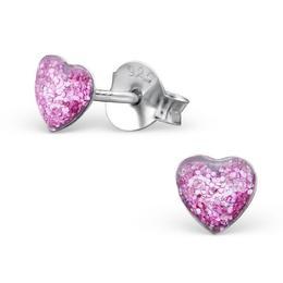 Cercei colorati cu surub din argint in forma de inimioara, Purple Glitter, Adorabel
