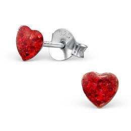 Cercei colorati cu surub din argint in forma de inimioara, Red Glitter, Adorabel