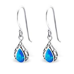 Cercei cu Opal din argint in forma de lacrima, Pacific Blue, Adorabel