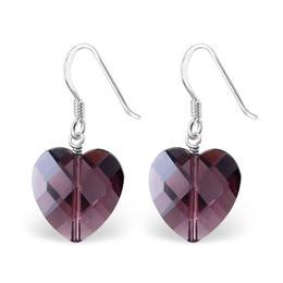 Cercei artizanat cu cristale din argint in forma de inima, Adorabel