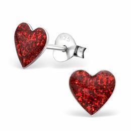 Cercei cu surub din argint in forma de inimioara, Red Glitter, Adorabel