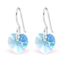Cercei din argint cu Cristale Swarovski® in forma de inima, Akvamarin, Adorabel