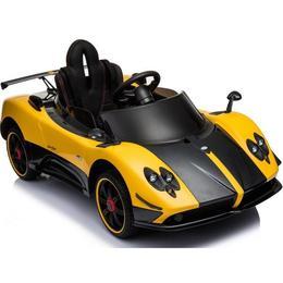 Masinua electrica Pagani Zonda cu telecomanda si roti din cauciuc Yellow