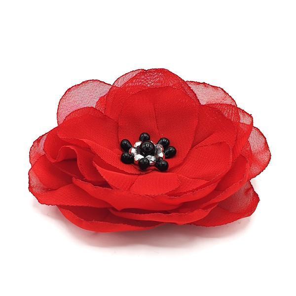Agrafa par floare rosie handmade, Spanish Love, Zia Fashion imagine produs