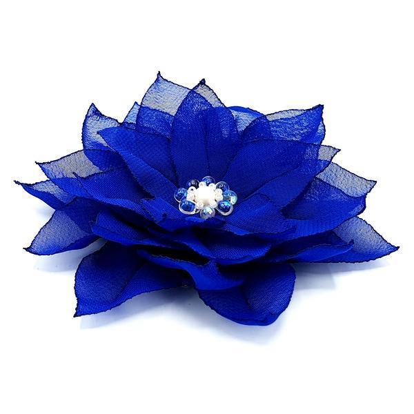 Agrafa par floare albastra handmade, Blue Queen, Zia Fashion imagine produs