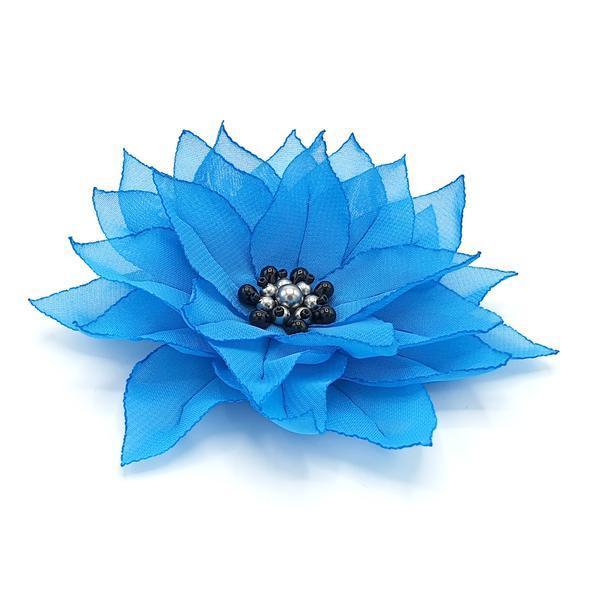 Agrafa par floare albastra handmade, Jasmine, Zia Fashion imagine produs