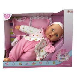 Bebelus Cute Baby cu bluzita, pernuta, bavetica si biberon 37 cm